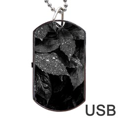Black And White Leaves Photo Dog Tag Usb Flash (one Side) by dflcprintsclothing