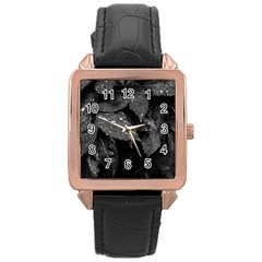 Black And White Leaves Photo Rose Gold Leather Watch  by dflcprintsclothing