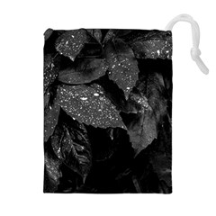 Black And White Leaves Photo Drawstring Pouches (extra Large) by dflcprintsclothing