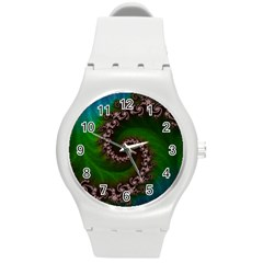 Benthic Saltlife Fractal Tribute For Reef Divers Round Plastic Sport Watch (m) by jayaprime