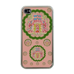 Sankta Lucia With Friends Light And Floral Santa Skulls Apple Iphone 4 Case (clear) by pepitasart