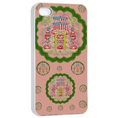Sankta Lucia With Friends Light And Floral Santa Skulls Apple Iphone 4/4s Seamless Case (white) by pepitasart