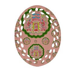 Sankta Lucia With Friends Light And Floral Santa Skulls Oval Filigree Ornament (two Sides) by pepitasart