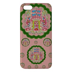 Sankta Lucia With Friends Light And Floral Santa Skulls Apple Iphone 5 Premium Hardshell Case by pepitasart