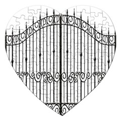 Inspirative Iron Gate Fence Jigsaw Puzzle (heart) by Alisyart