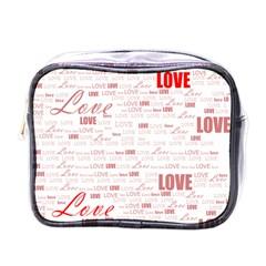 Love Heart Valentine Pink Red Romantic Mini Toiletries Bags by Alisyart
