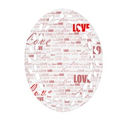 Love Heart Valentine Pink Red Romantic Ornament (oval Filigree) by Alisyart