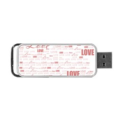 Love Heart Valentine Pink Red Romantic Portable Usb Flash (two Sides) by Alisyart