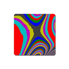 Pattern Rainbow Colorfull Wave Chevron Waves Square Magnet by Alisyart