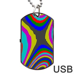 Pattern Rainbow Colorfull Wave Chevron Waves Dog Tag Usb Flash (two Sides) by Alisyart