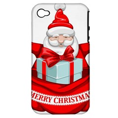 Merry Christmas Santa Claus Apple Iphone 4/4s Hardshell Case (pc+silicone) by Alisyart