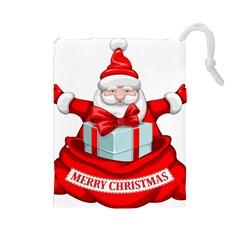 Merry Christmas Santa Claus Drawstring Pouches (large)  by Alisyart