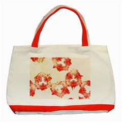 Pattern Flower Red Plaid Green Classic Tote Bag (red) by Alisyart
