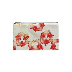 Pattern Flower Red Plaid Green Cosmetic Bag (small)