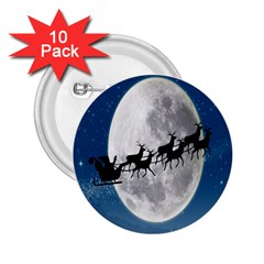 Santa Claus Christmas Fly Moon Night Blue Sky 2 25  Buttons (10 Pack)  by Alisyart