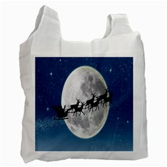 Santa Claus Christmas Fly Moon Night Blue Sky Recycle Bag (one Side) by Alisyart