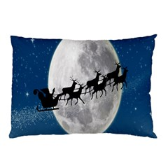Santa Claus Christmas Fly Moon Night Blue Sky Pillow Case (two Sides)