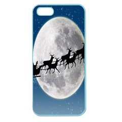 Santa Claus Christmas Fly Moon Night Blue Sky Apple Seamless Iphone 5 Case (color) by Alisyart