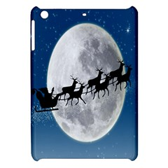 Santa Claus Christmas Fly Moon Night Blue Sky Apple Ipad Mini Hardshell Case by Alisyart