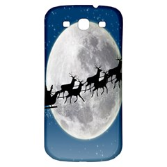 Santa Claus Christmas Fly Moon Night Blue Sky Samsung Galaxy S3 S Iii Classic Hardshell Back Case by Alisyart