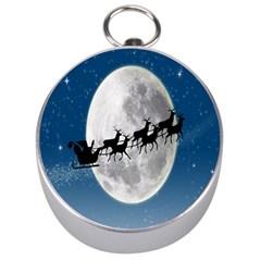 Santa Claus Christmas Fly Moon Night Blue Sky Silver Compasses by Alisyart