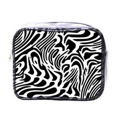 Psychedelic Zebra Pattern Black Mini Toiletries Bags by Alisyart