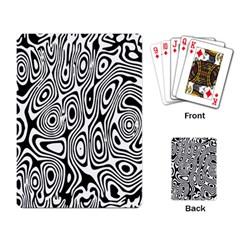 Psychedelic Zebra Black Circle Playing Card by Alisyart