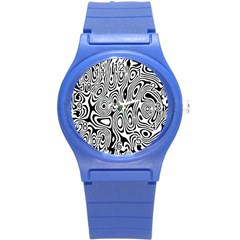 Psychedelic Zebra Black Circle Round Plastic Sport Watch (s) by Alisyart