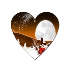Santa Claus Christmas Moon Night Heart Magnet by Alisyart