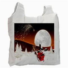 Santa Claus Christmas Moon Night Recycle Bag (two Side)  by Alisyart
