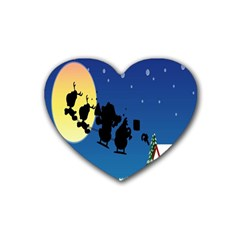 Santa Claus Christmas Sleigh Flying Moon House Tree Heart Coaster (4 Pack)
