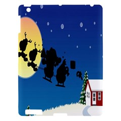 Santa Claus Christmas Sleigh Flying Moon House Tree Apple Ipad 3/4 Hardshell Case by Alisyart