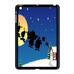 Santa Claus Christmas Sleigh Flying Moon House Tree Apple Ipad Mini Case (black) by Alisyart