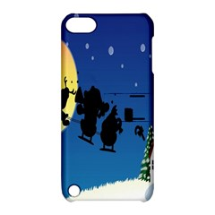 Santa Claus Christmas Sleigh Flying Moon House Tree Apple Ipod Touch 5 Hardshell Case With Stand by Alisyart