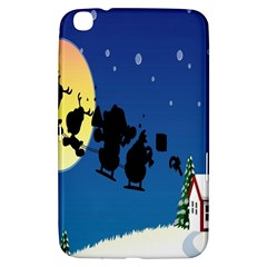 Santa Claus Christmas Sleigh Flying Moon House Tree Samsung Galaxy Tab 3 (8 ) T3100 Hardshell Case  by Alisyart