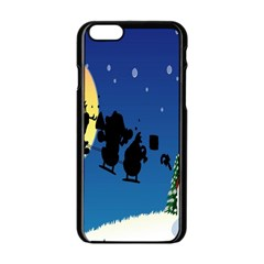 Santa Claus Christmas Sleigh Flying Moon House Tree Apple Iphone 6/6s Black Enamel Case by Alisyart