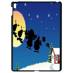 Santa Claus Christmas Sleigh Flying Moon House Tree Apple Ipad Pro 9 7   Black Seamless Case by Alisyart