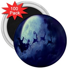 Santa Claus Christmas Night Moon Happy Fly 3  Magnets (100 Pack) by Alisyart