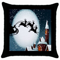 Santa Claus Christmas Snow Cool Night Moon Sky Throw Pillow Case (black) by Alisyart