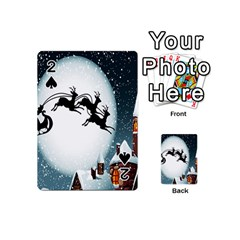 Santa Claus Christmas Snow Cool Night Moon Sky Playing Cards 54 (mini)  by Alisyart