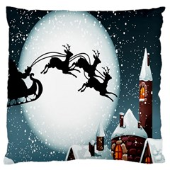 Santa Claus Christmas Snow Cool Night Moon Sky Large Cushion Case (two Sides) by Alisyart