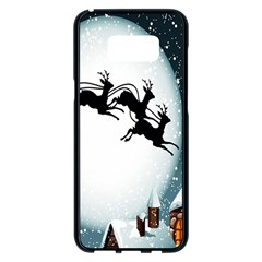 Santa Claus Christmas Snow Cool Night Moon Sky Samsung Galaxy S8 Plus Black Seamless Case