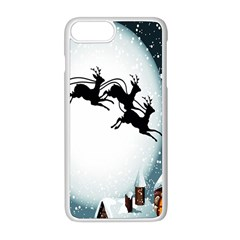 Santa Claus Christmas Snow Cool Night Moon Sky Apple Iphone 8 Plus Seamless Case (white)
