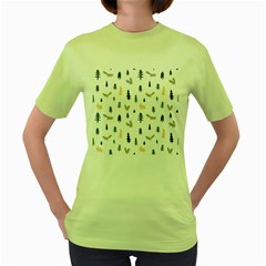 Squirrel Rabbit Tree Animals Snow Women s Green T Shirt