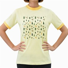 Squirrel Rabbit Tree Animals Snow Women s Fitted Ringer T Shirts