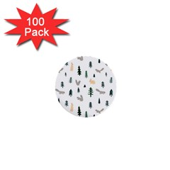 Squirrel Rabbit Tree Animals Snow 1  Mini Buttons (100 Pack)
