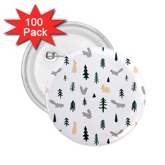 Squirrel Rabbit Tree Animals Snow 2 25  Buttons (100 Pack)