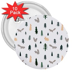 Squirrel Rabbit Tree Animals Snow 3  Buttons (10 Pack)