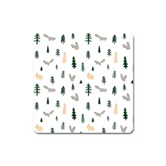 Squirrel Rabbit Tree Animals Snow Square Magnet