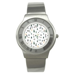 Squirrel Rabbit Tree Animals Snow Stainless Steel Watch